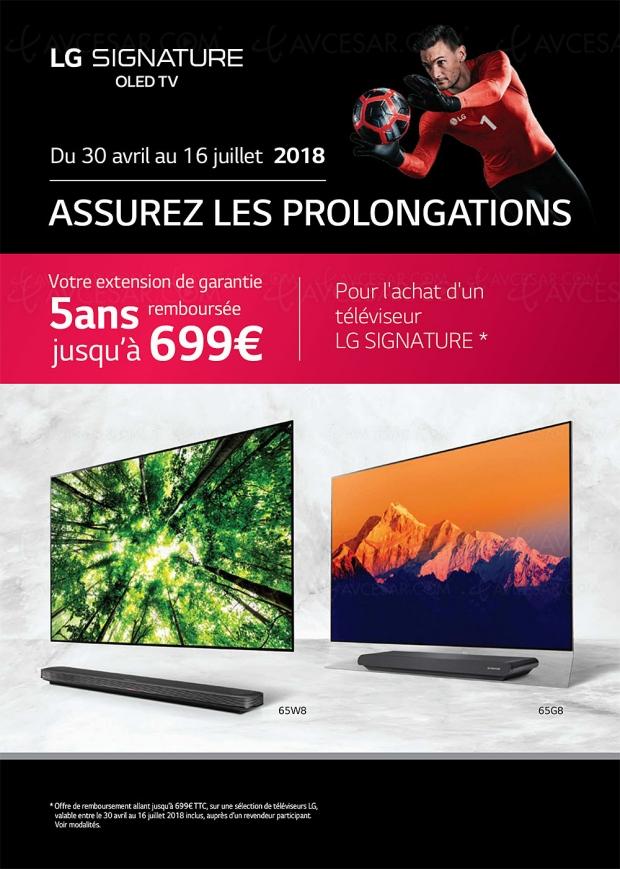 Offre de remboursement TV Oled LG extension de garantie Assurez les prolongations, jusqu'à 699 € remboursés