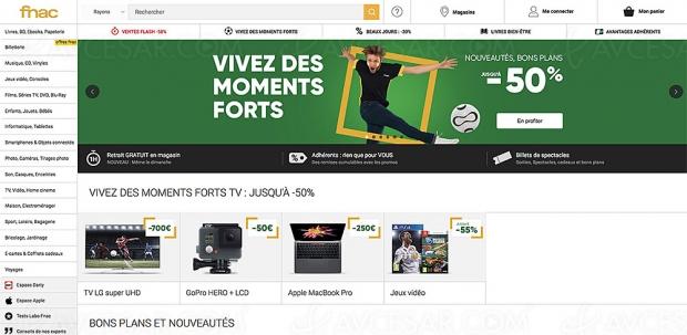 Opération Fnac Vivez des moments forts, jusqu'à 50% de remise sur une sélection de produits : téléphonie, son, TV, prise de vue, informatique et gaming