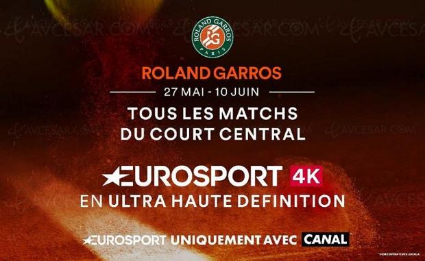 Tournoi de Roland‑Garros en Ultra HD/4K HDR aussi sur Canal+ via Eurosport 4K