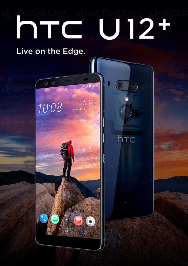HTC U12+, phablette 6'' avec dos transparent et toujours à pression…