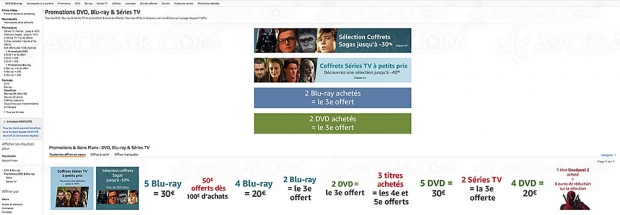 Promos Amazon sur 17 224 titres Blu‑Ray/DVD et séries TV, récapitulatif des meilleures promos du moment