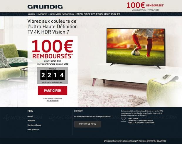 Offre de remboursement Grundig, changez de TV pour la Coupe du Monde de Football 2018