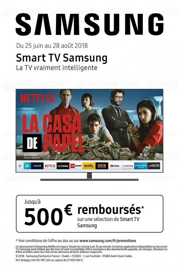 Offre de remboursement Smart TV Samsung LED, QLED et The Frame, jusqu'à 500 € remboursés