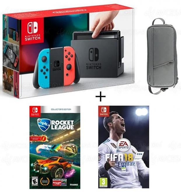 Soldes été 2018, Nintendo Switch Neon + Fifa 18 + Rocket League + housse à 349,99 €