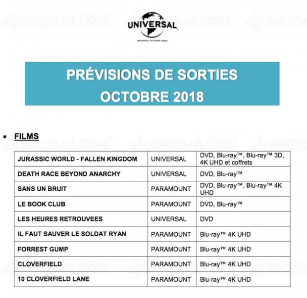Universal confirme ses titres 4KUltraHD Blu‑Ray du moisd'octobre