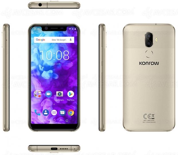 Smartphone Konrow Must : Octa Core, Android 8.0, double capteur APN 13 Mpxls + 2 Mpxls, 4 Go de Ram, 64 Go
