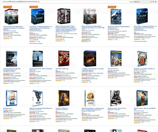 Amazon Petits prixd'été: 9000 Blu‑Ray, DVD etsériesTV à petit prix, jusqu'à-50%