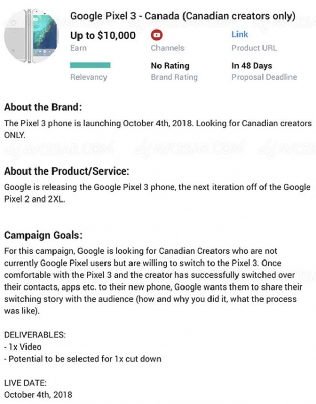Smartphones Google Pixel 3 et Pixel 3 XL dévoilés le 4 octobre ?
