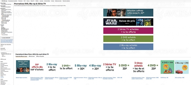 Promos Amazon sur 24204 titres Blu‑Ray/DVD etsériesTV, récapitulatif des meilleures promos dumoment