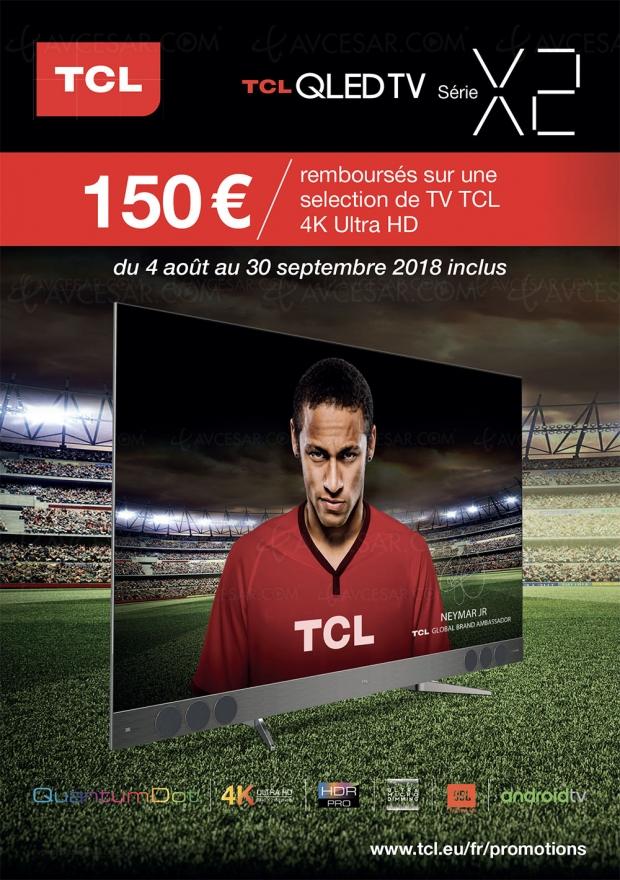 Offre de remboursement TV QLED UltraHD TCLX2, 150€remboursés