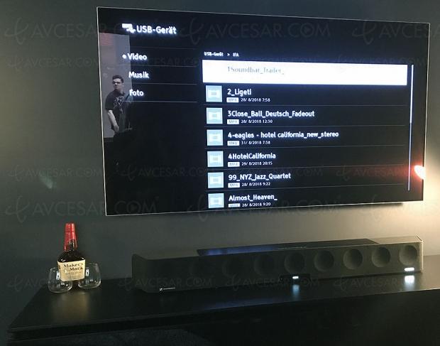 IFA 18 > Sennheiser Ambeo SoundBar, barre sonore 13 haut‑parleurs compatible Dolby Atmos et DTS:X