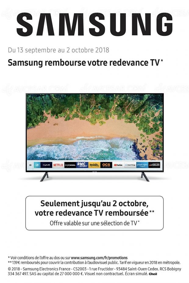 Offre de remboursement Samsung TV, votre redevance TV remboursée