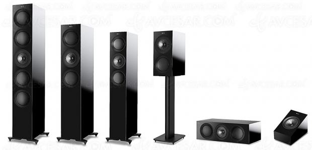 Nouvelles enceintes Kef R Series : 3 colonnes, 1 bibliothèque, 1 centrale et 1 enceinte Dolby Atmos