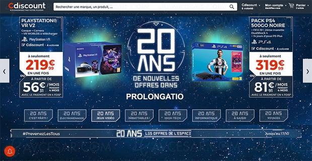 CDiscount 20e anniversaire, PSVR +CaméraV2 +VRWorld à219,99€, soit 27% deremise
