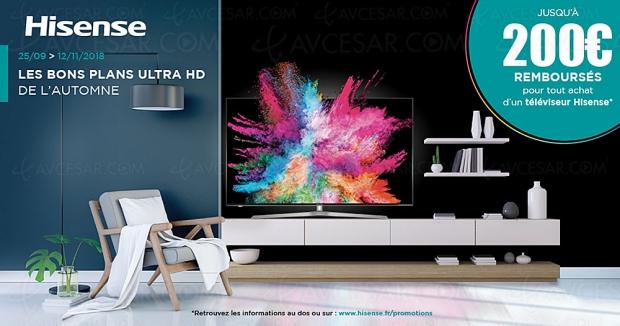 Offre de remboursementTV UltraHD Hisense, jusqu'à 200€remboursés