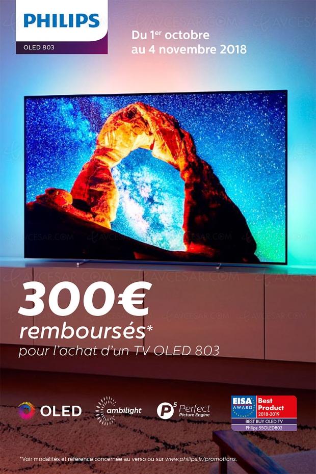 Offre de remboursement TVOled UltraHD Ambilight Philips55OLED803/65OLED803, 300€remboursés