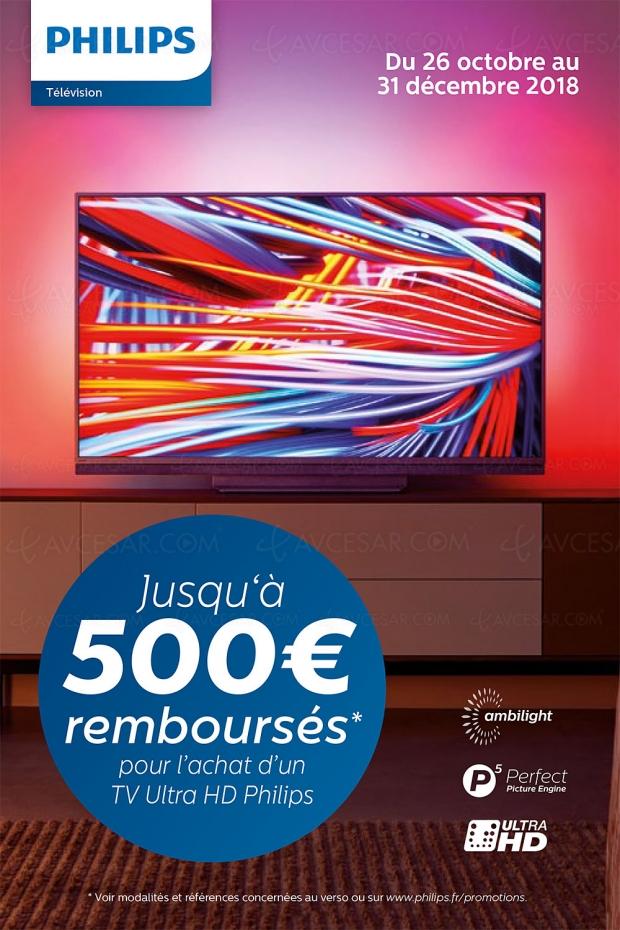 Offre de remboursement PhilipsTV UltraHD, jusqu'à 500€remboursés