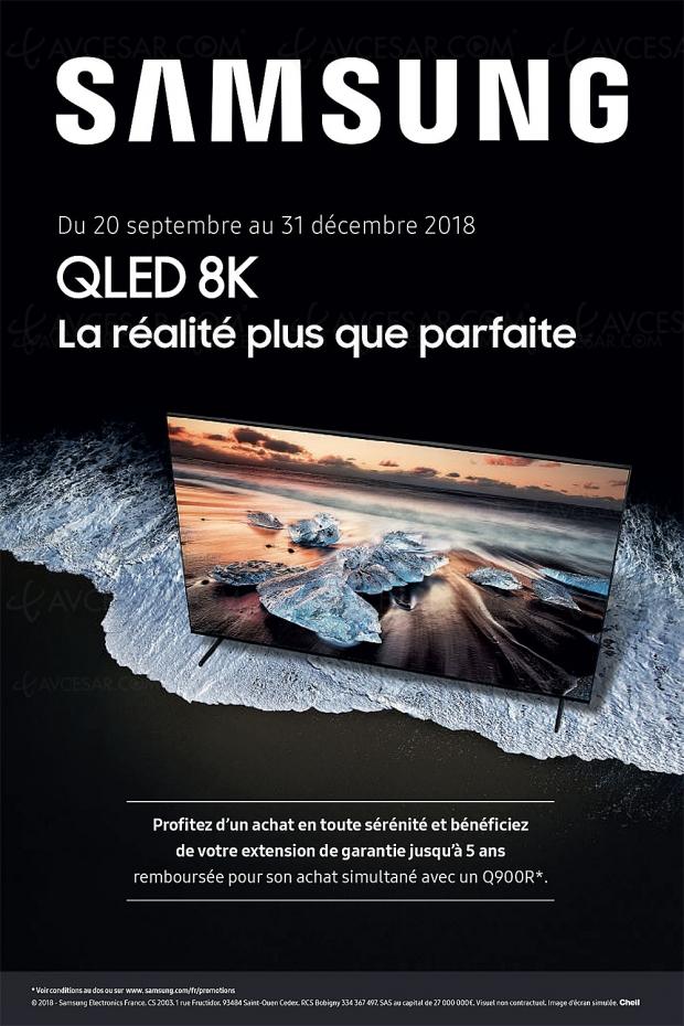Offre de remboursement TVQLED8K SamsungQ900R, extension de garantie remboursée jusqu'à5ans et700€