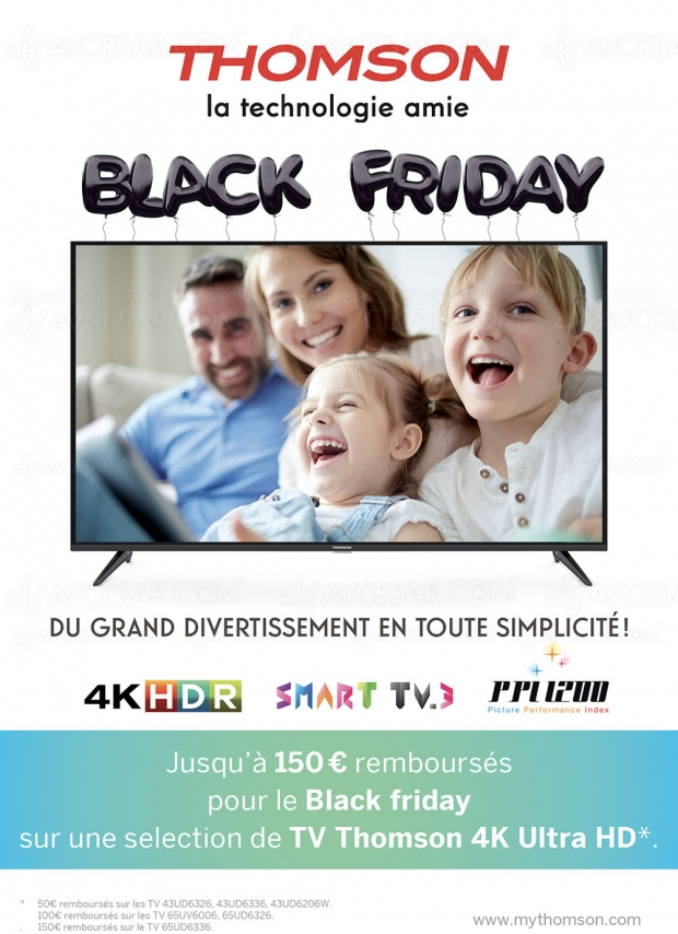 Black Friday Week, offre de remboursement TVUltraHD Thomson, jusqu'à 150€remboursés