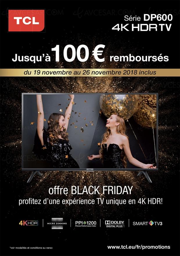Black Friday Week, offre de remboursement TVUltraHD TCL, jusqu'à 100€remboursés