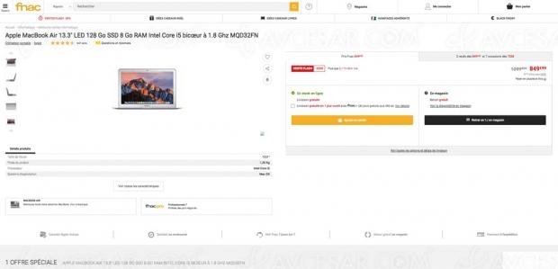 Black Friday Week, Apple MacBookAir 13,3'' 128Go SSD à849,99€, soit uneremise de250€