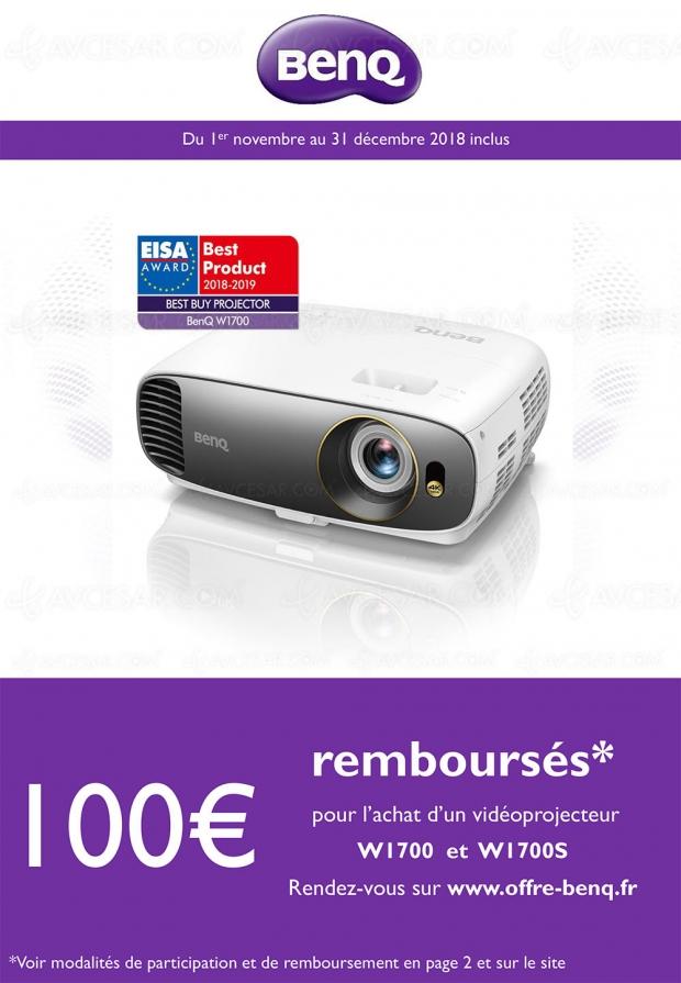 Offre de remboursement vidéoprojecteur Ultra HD/4K BenQ W1700, 100 € remboursés