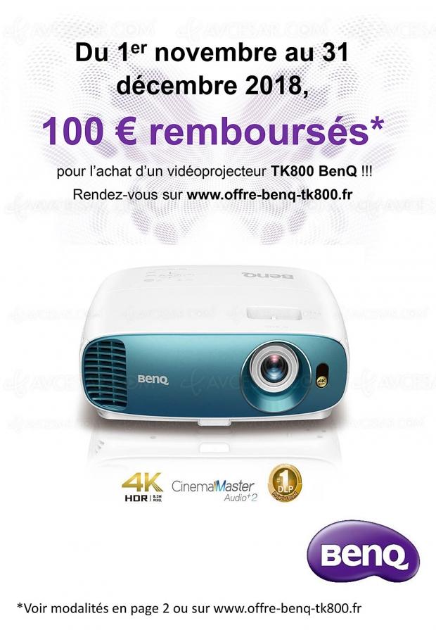 Offre de remboursement vidéoprojecteur Ultra HD/4K BenQ TK800, 100 € remboursés