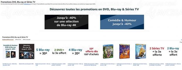 Promos Amazon sur plusieurs milliers de titres Blu‑Ray/DVD et séries TV, récapitulatif des meilleures promos du moment