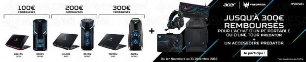 Offre de remboursement PCGaming AcerPredator, jusqu'à 300€remboursés