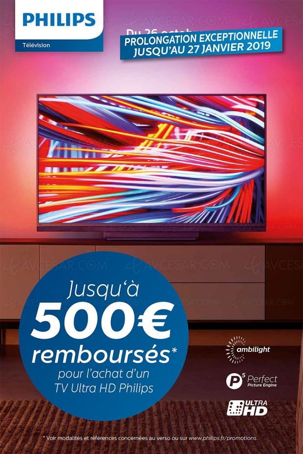 Offre de remboursement PhilipsTV UltraHD, jusqu'à 500€remboursés: prolongation au27janvier