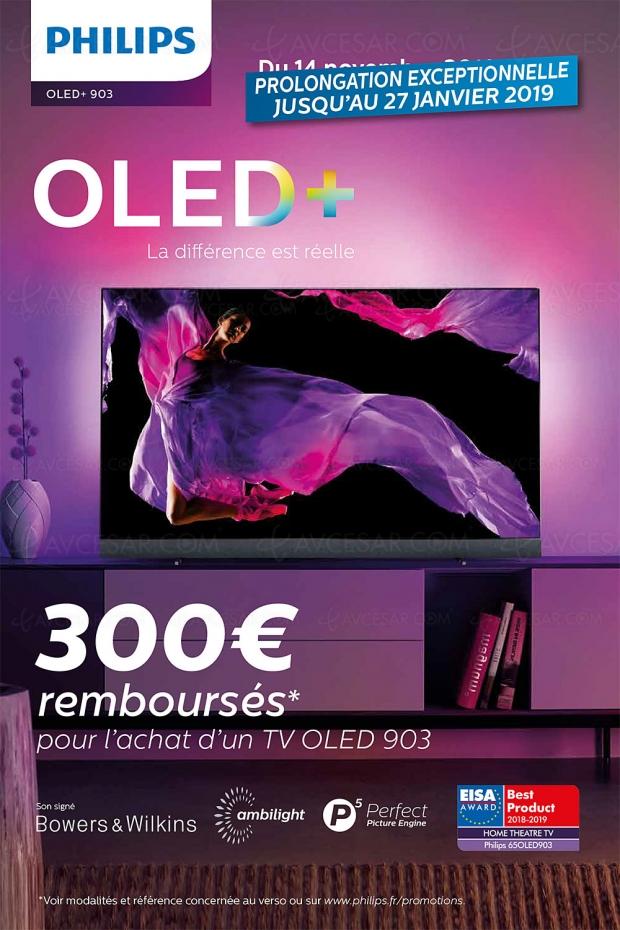 Offre de remboursement TVOled UltraHD Ambilight Philips55OLED903/65OLED903, 300€ remboursés: prolongation au27janvier