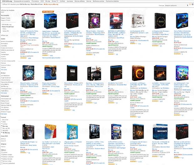 Soldes hiver 2019, Amazon 564 coffrets 4K Ultra HD Blu‑Ray et Blu‑Ray jusqu'à -50%