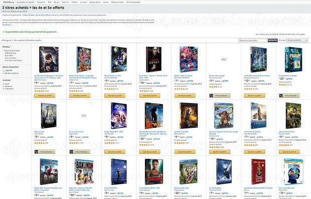 Promos Amazon Blu‑Ray/DVD et séries TV, 3 titres achetés, un 4e et un 5e offerts