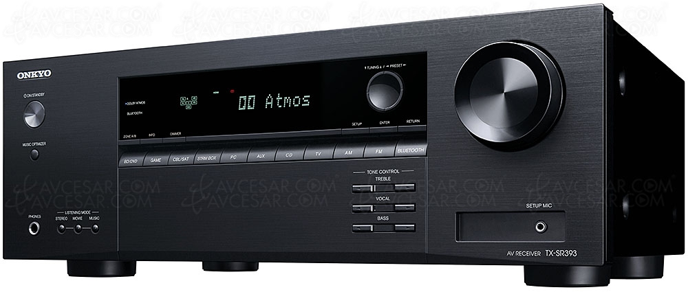 Onkyo TX-SR393, amplificateur 5.2, Dolby Atmos 3.2.2, DTS