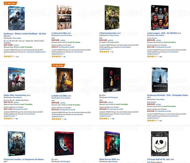 Promotions Amazon, 10 000 4K Ultra HD BD, BD/DVD, séries TV et coffrets à petit prix, jusqu'à‑70%