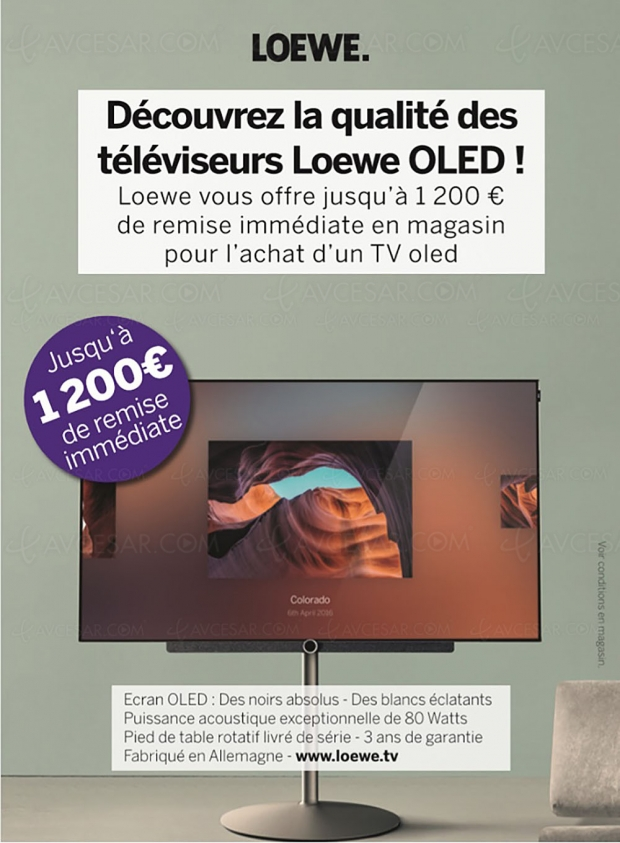 Promos Loewe TVOled, jusqu'à 1200€ de remise immédiate jusqu'au 28février