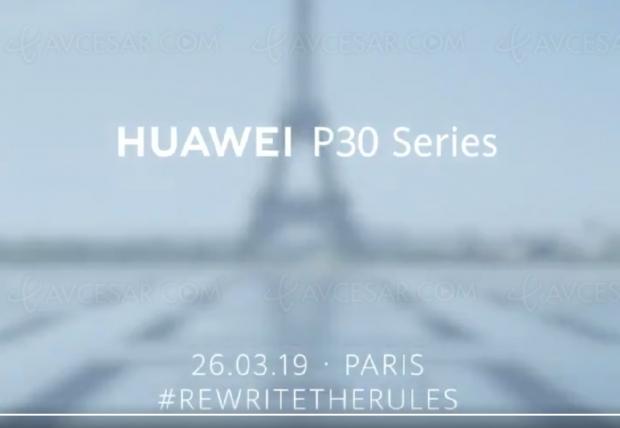 Nouveau smartphone HuaweiP30 présenté àParis le26mars