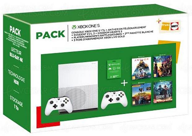 Bons plans Jours Fnac, Xbox One S 1 To + 2 manettes + 4 jeux + Live Gold 3 mois à -43%