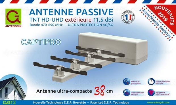 Antenne passive extérieure TNT HD/Ultra HD Antengrin CaptiPro