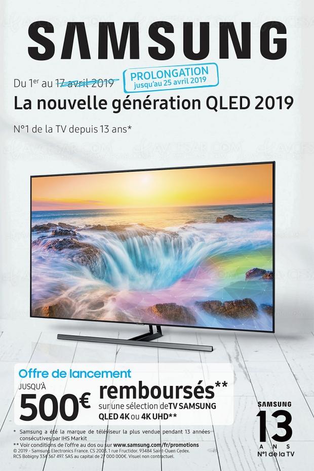 Prolongation de l'offre de remboursement TV QLED/UHD 2019 Samsung, jusqu'à 500 € remboursés