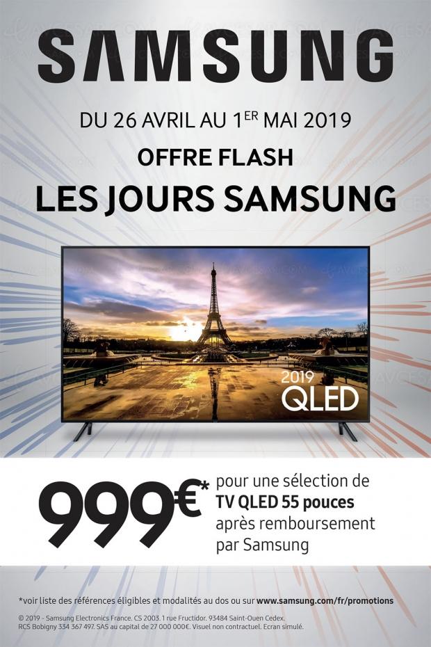 French Days, offre de remboursement flash TV QLED 2019, jusqu'à 300 € remboursés soit 999 € pour un Samsung QLED 55Q6xR