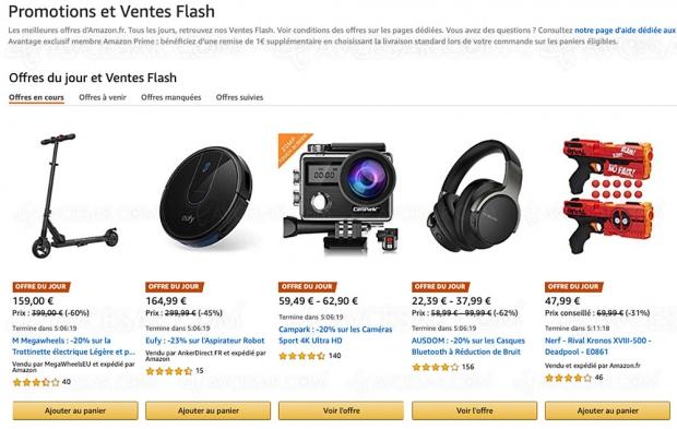 Bon plan ventes flash et promotions Amazon, 10 000 produits jusqu'à -96%