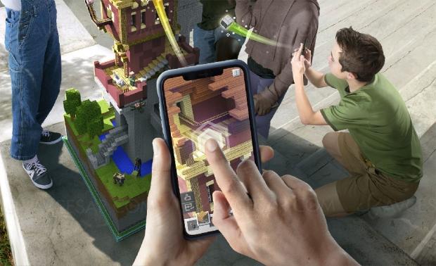 Jeu mobile Minecraft Earth en réalité augmentée