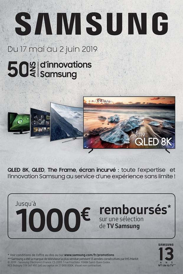 Offre de remboursement TV Samsung QLED 2019, jusqu'à 1 000 € remboursés