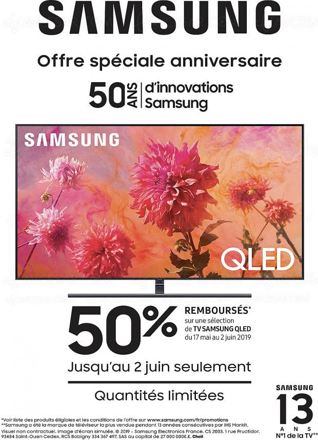 Offre de remboursement TV QLED Samsung 2018, 50% du prix remboursés dans la limite de 1 000 €