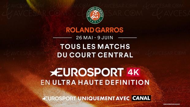 Tournoi de Roland‑Garros en Ultra HD/4K HDR HLG aussi sur Canal+ via Eurosport 4K