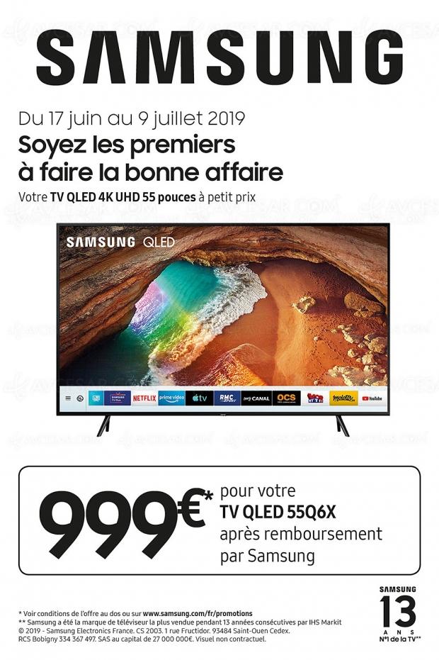 Offre de remboursement 300 € TV QLED 2019, payez 999 € pour un Samsung 55Q6xR