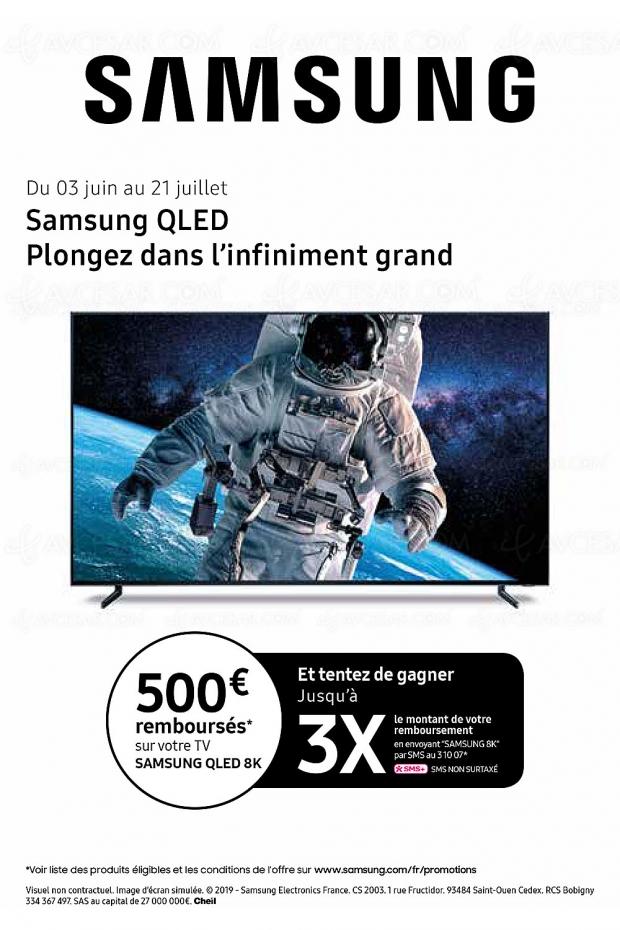 Offre de remboursement 500 € TV Samsung QLED 8K, et tentez d'augmenter jusqu'à 1 500 € votre remboursement