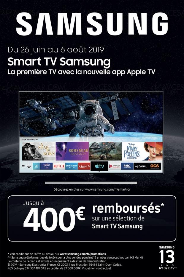 Offre de remboursement Smart TV Samsung, jusqu'à 400 € remboursés