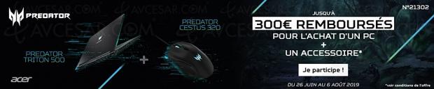 Offre de remboursement PC Gaming Acer Predator, jusqu'à 300 € remboursés